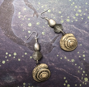 Ceramic ocean shell earrings with grey fresh water pearl and English cut glass bead.
