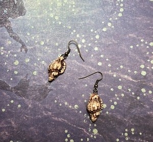 Textured natural shell earrings with antique brass ear wires.