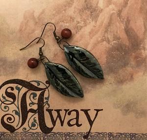 Long green leaf earring