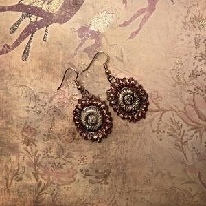 Rusty red cornflower earrings