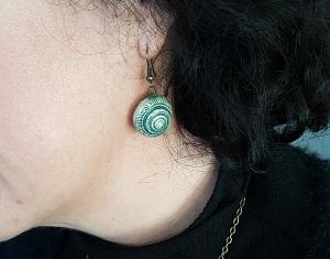Wearing shell earring