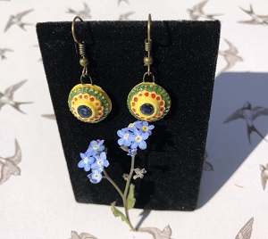 Mexican summer circle ceramic earrings
