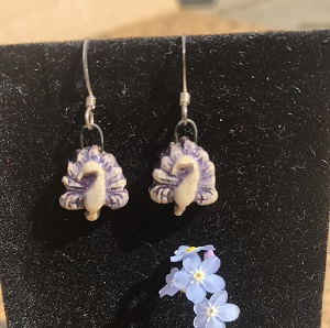Purple peacock petite drop earring