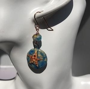 Ceramic starfish drop earrings