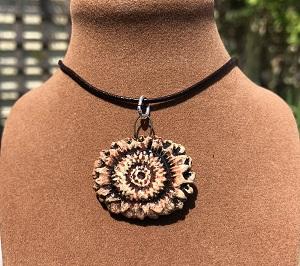 Brown and cream corn flower pendant