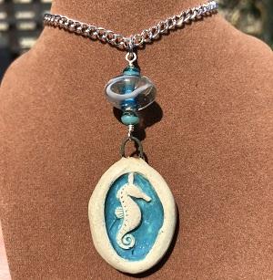 Turquoise ceramic seahorse pendant