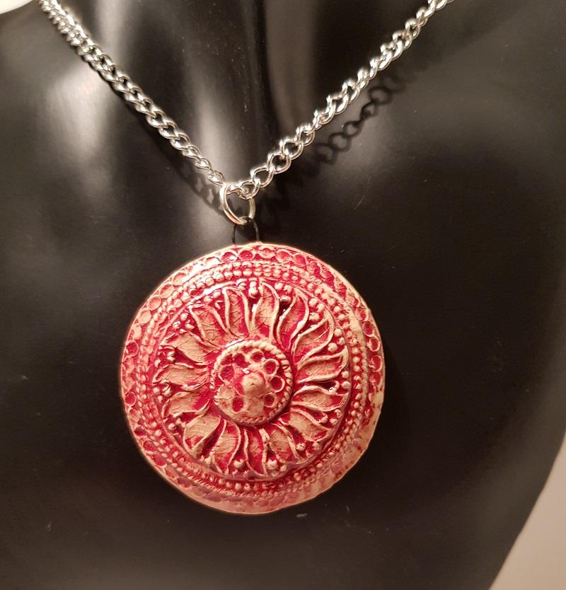 Large Red Flower Circular Pendant