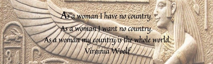 Goddess Egyptian eternal power collection banner with Woolf quotation