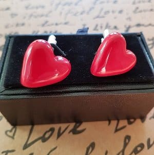 Unique red heart cuff links - gift for him