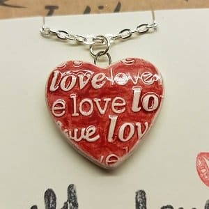 Love, love, love necklace handmade ceramic