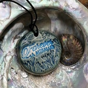 Beautiful mermaid pendant handmade ceramic gift