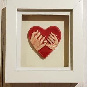 Hands of love wall plaque handmade ceramic gift
