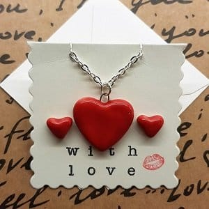 Red heart jewellery set