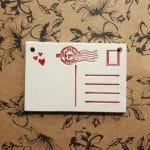 Ceramic Valentine's day postcard