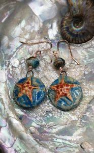 Starfish earrings handmade ceramic