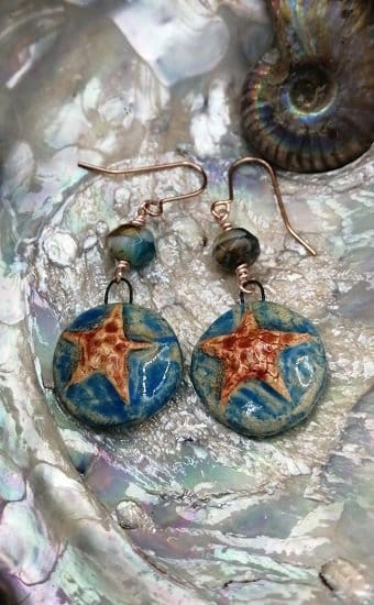 Starfish earrings handmade ceramic