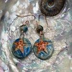 Starfish handmade ceramic drop earring