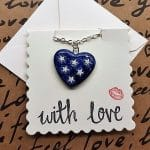 Blue heart with stars necklace