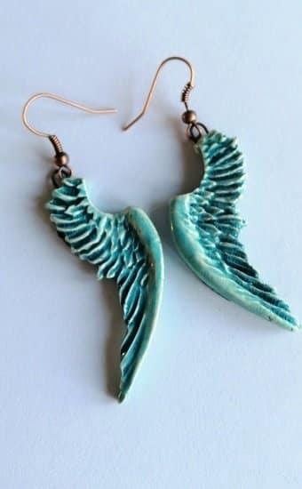 Aqua angel wing ceramic earring