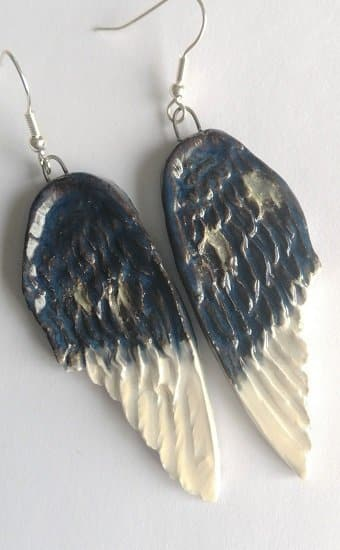 Blue and white angel wing earring