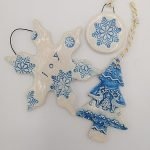 Blue handmade ceramic decorations
