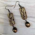 Brown and Bronze wood bark ceramic earrings