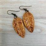 Autumn leaf earring set handmade ceramic