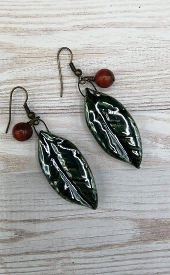 Handmade ceramic green leaf earrings
