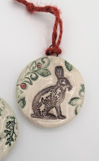 Hare Christmas decoration handmade ceramic
