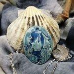 Beautiful handmade ceramic jewellery blue mermaid pendant
