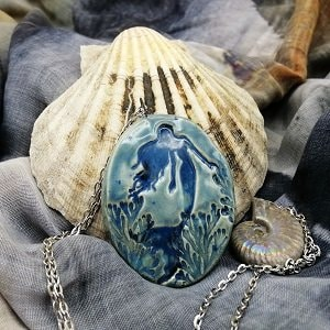 Beautiful handmade ceramic jewellery blue mermaid pendant