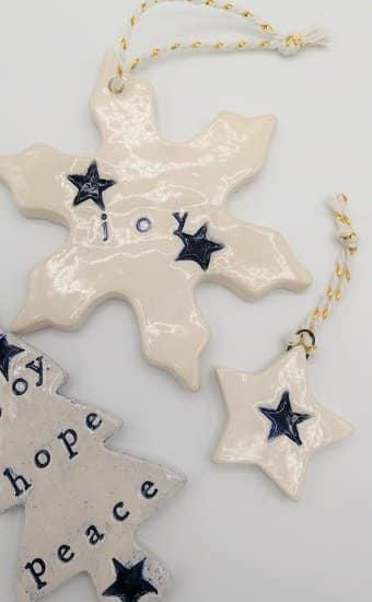 Navy blue handmade Christmas decorations