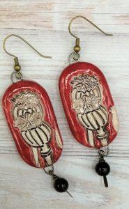Red poppy seed head earring set
