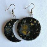 SUn and moon earring set handmade ceramic