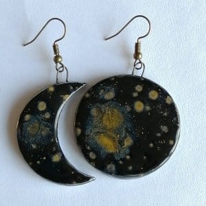 SUn and moon earring set handmade ceramic