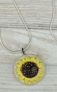 Yellow sunflower pendant handmade summer jewellery
