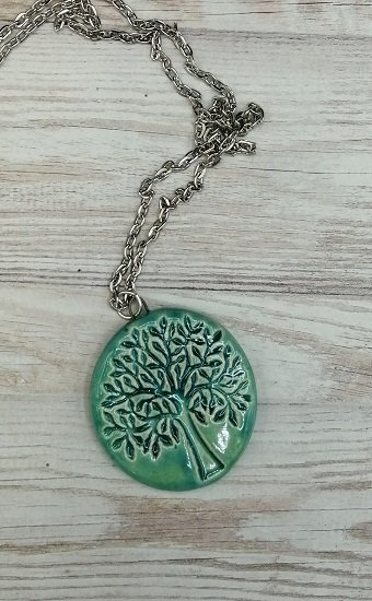 Aqua tree of life strong women pendant handmade ceramic