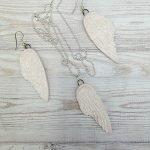 White angel wing handmade ceramic jewellery set