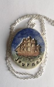 For the journey pendant handmade ceramic inspired by strong woman Laura Pergolizzi