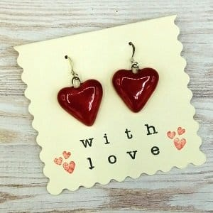 Red heart earrings handmade ceramic jewellery